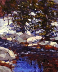 """Snow Creek"" (Truckee River), Oil on Canvas, 12x9k"