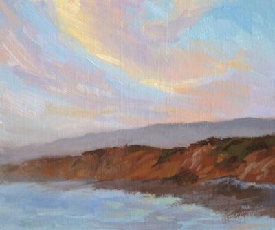 Pesadero Sunset, Oil on Linen, 10x12