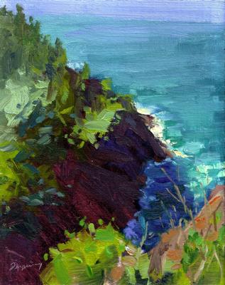 Kauai Canyon, Oil on Linen, 10x8