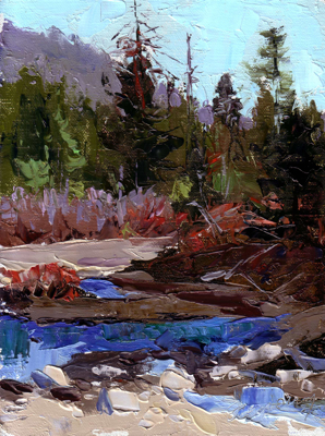 Truckee River Warmth, Oil on Linen, 8x6