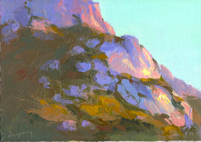 Hollister Peak (an alternative view), Oil on Linen, 9x12
