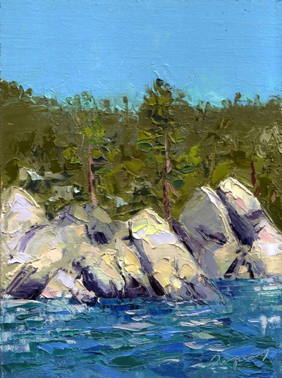 Lake Tahoe, Oil on Linen, 8x6