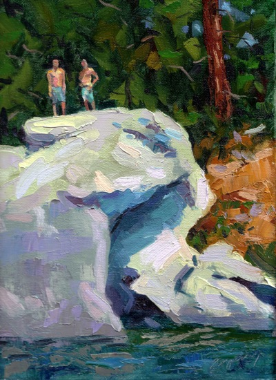 Diving Rock, Lake Tahoe - Oil on Canvas - 12x9