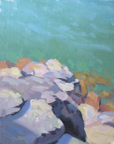Tahoe Rock Study, Oil on Linen, 10x8