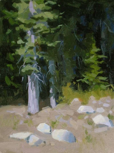 Blackwood Canyon Streambed, OIl on Linen, 12x9