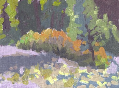 Riverbed, High-key Study - Oil on Linen - 6x8