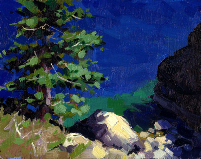 From the Rubicon Trail (Lake Tahoe), Oil on Linen, 8x10