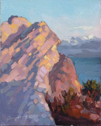 Cliffs at Avila Beach (Golden Hour), Oil on Canvas, 8x10