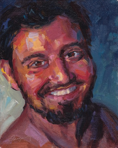 Mike, ala Pompei - Oil on Canvas - 10x8