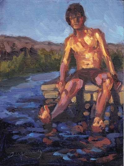 Boy on Dock, Oil on Linen, 6x8
