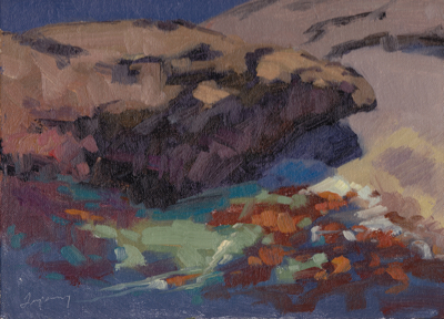 Colorful Cove (Point Lobos), Oil on Linen, 9x12