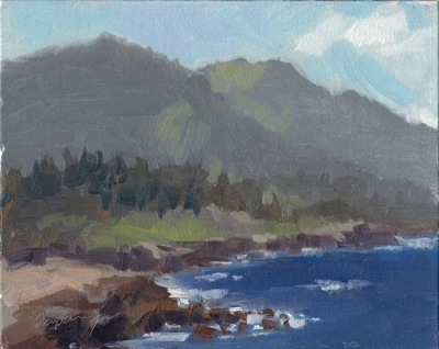 Point Lobos View, Oil on Linen, 8x10
