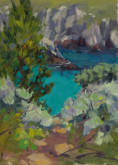 China Cove Green, Oil on Linen, 12x9