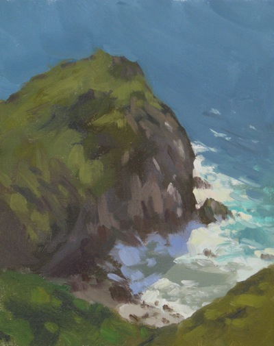 Big Sur Cove, Oil on Linen, 10x8