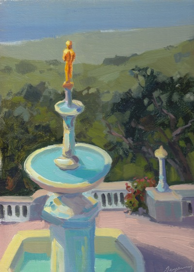 South Terrace View (Hearst Castle), Oil on Linen, 12x9