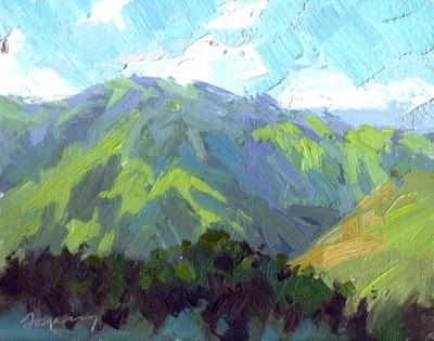 Big Sur Canyon #1, Oil on Linen, 8x10