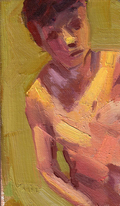 Boy, Oil on Canvas, 3 3/4 x 6 1/2