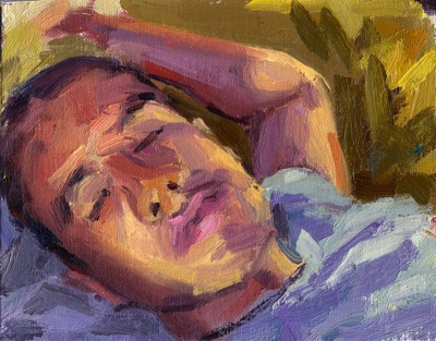 Sleeper, Oil on Linen, 7 1/14 x 5 1/2