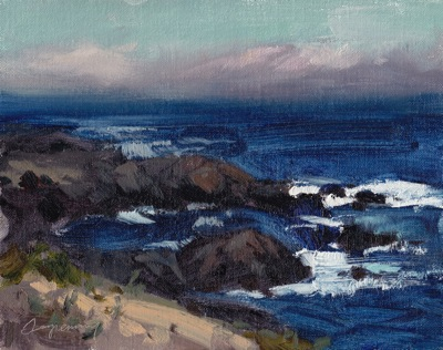 Asilomar Beach Study #2, Oil on Linen, 8x10