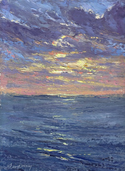 Sunset Ragged Point. CA (October 4, 2011, Oil on Linen, 12x9
