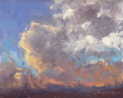 Sunset, San Miguel de Allende (March 10, 2012), Oil on Linen, 8x10