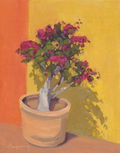 Potted Flowers (Casa Santa Ana), Oil on Linen, 12x9