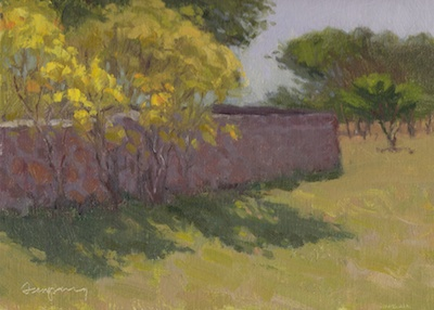 Wall in Shadow (Holly's Place), Oil on Linen, 9x12