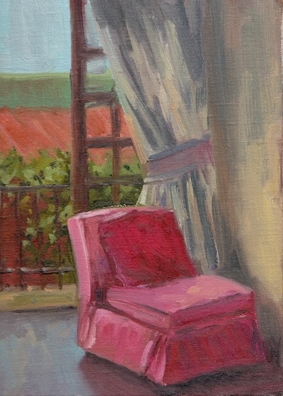 Pink Chair, Casa Schuck (San Miguel de Allende), Oil on Linen, 12x9
