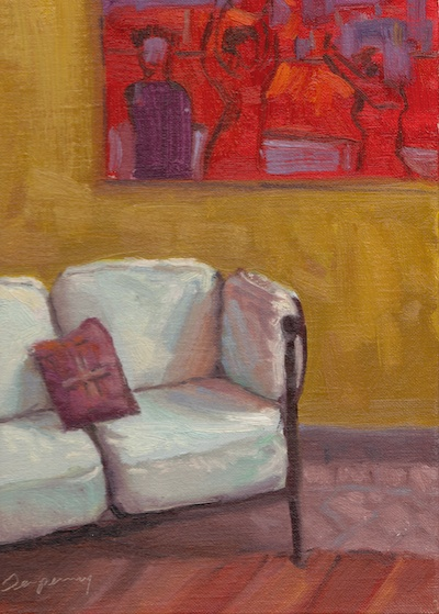 White Sofa, Casa Santa Ana (San Migue de Allende), Oil on Linen, 12x9