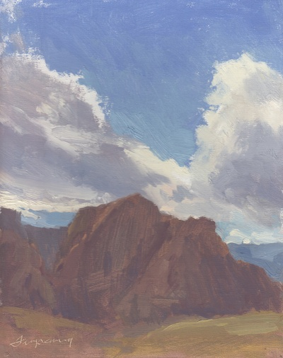 Red Rocks (Las Vegas, NV; April 15, 2012), Oil on Linen, 10x8
