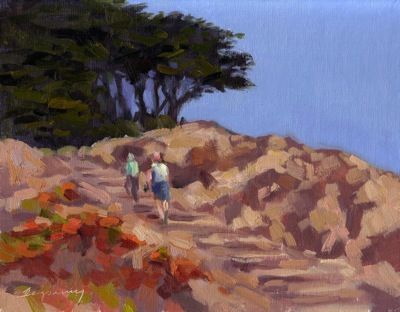 Lands End Hike (San Francisco), Oil on Linen, 8x10