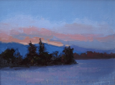 Lake Sunset (San Luis Obispo, CA), Oil on Linen, 9x12