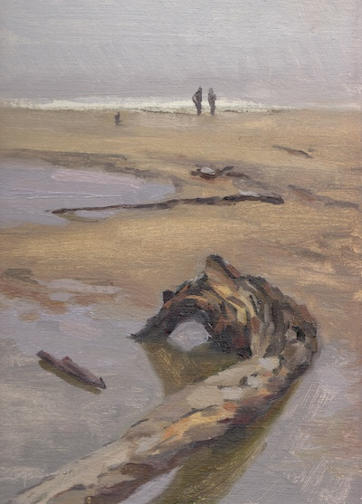 San Gregorio State Park, CA (overcast day), Oil on Linen, 10x8