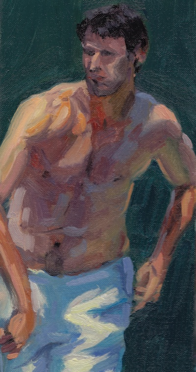 Tennis Player 3, Oil on Linen, 10x5.5
