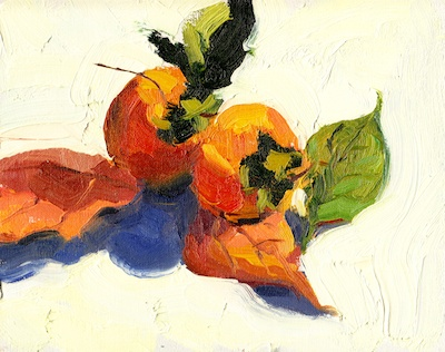 Persimmons 2, Oil on Linen, 8x10