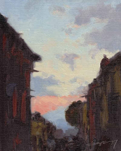 San Miguel de Allende Sunset, Oil on Linen, 8x10