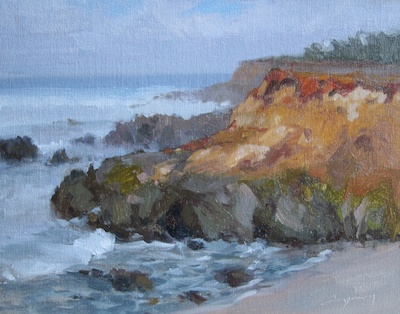 Moss Beach Bluffs (Gray Day), Oil on Linen, 11x14