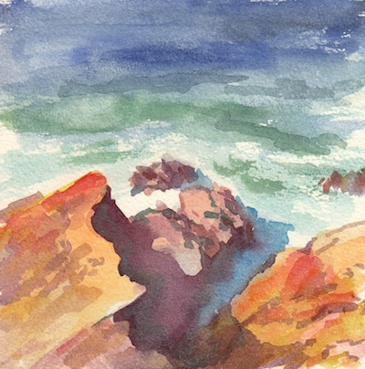 Moss Beach Cove, Watercolor, 6x6