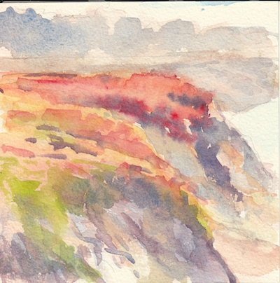 Moss Beach Bluffs 1, Watercolor, 6x6