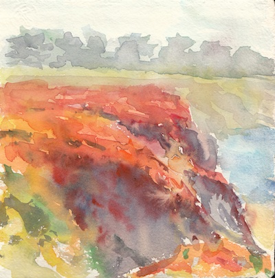 Moss Beach Study 2, Watercolor, 6x6
