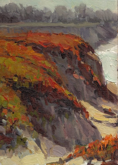 Moss Beach Bluffs #3, Oil on Linen, 12x9