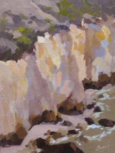 White Bluffs of Avila Cove, Oil on Linen 12x9