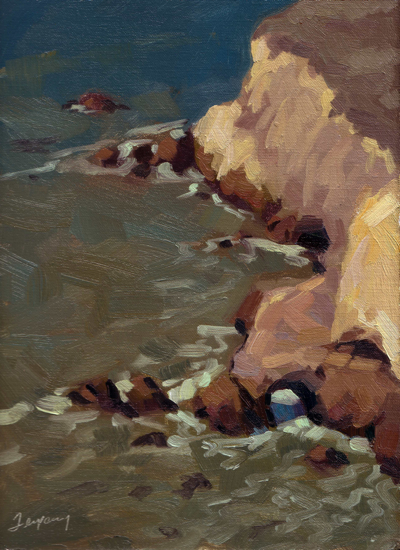 Avila Cove Bluffs & Caves, Oil on Linen, 11x14