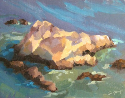 Avila Rocks & Surf, Late Afternoon, Oil on Linen, 11x14
