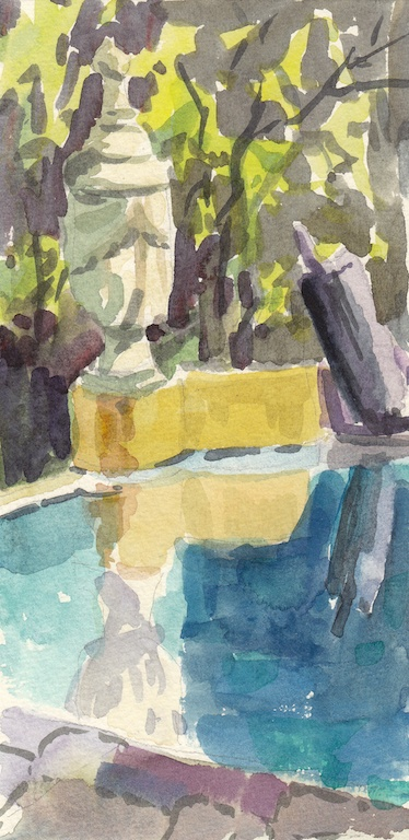 Joyce's Pool #1 (San Miguel de Allende, Mexico), Watercolor
